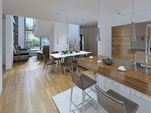 Kitchen with dining area Royalty Free Stock Image