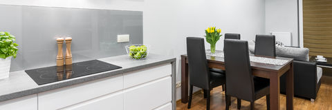 Kitchen with dining area Stock Photography