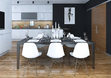 Kitchen dining modern style Stock Photos