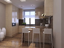 Kitchen dining room in modern style. 3d images Royalty Free Stock Photo