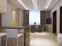 Kitchen and dining room modern style Royalty Free Stock Photo