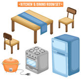Kitchen and Dining Room Set Stock Photography