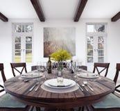 Kitchen dinner table setting. 3D Rendering vector illustration