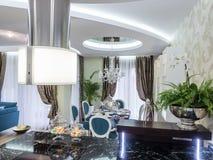 Kitchen and dinning room. Apartmen  interior design and decoration Stock Photos