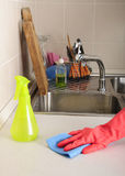 Kitchen dirty sink. Cleaning a dirty kitchen sink royalty free stock photo