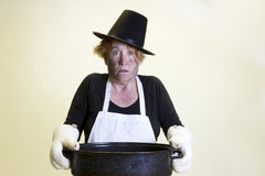 Kitchen disaster, pilgrim hat and roasting pan Stock Photos