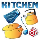 Kitchen dishes collection Royalty Free Stock Images