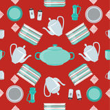 Kitchen Dishes and Cutlery Seamless Pattern Stock Photo