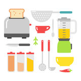 Kitchen dishes vector flat icons isolated on white background Stock Photos
