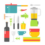 Kitchen dishes vector flat icons isolated on white background Royalty Free Stock Photos