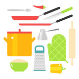 Kitchen dishes vector flat icons isolated on white background Royalty Free Stock Images