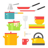 Kitchen dishes vector flat icons isolated on white background Royalty Free Stock Image
