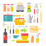 Kitchen dishes vector flat icons isolated on white background Royalty Free Stock Photo