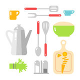 Kitchen dishes vector flat icons isolated on white background Stock Photography