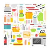 Kitchen dishes vector flat icons isolated on white background Stock Image