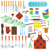 Kitchen dishes vector flat icons isolated on white background Stock Images