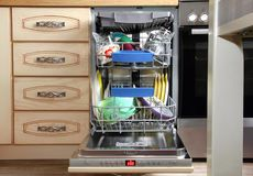 Kitchen Dishwasher in Interior royalty free stock images
