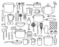 Kitchen doodle. Kitchen utensils, pots and other kitchen related elements doodle collection royalty free illustration