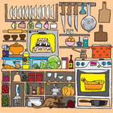 Kitchen doodle vector Stock Image
