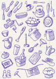 Kitchen doodles stock image