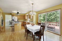 Kitchen with doors to deck Royalty Free Stock Images