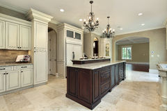 Kitchen with double deck island stock photos