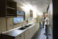 Kitchen of the double-decker train Mikhail Ulyanov Royalty Free Stock Image