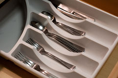 Kitchen Drawer. An organize kitchen drawer with forks, spoons and knives in it Stock Photography