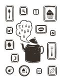 Kitchen Drinking Tea Teapot and Cooking Art Frames Royalty Free Stock Image