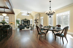 Kitchen eating area and family room Royalty Free Stock Photos