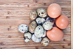 Kitchen eggs. Top view of several eggs Royalty Free Stock Photography