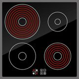 Kitchen Electric hob with ceramic surface and. Touch control panel royalty free illustration