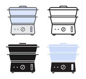 Kitchen electric steamer icons Stock Image