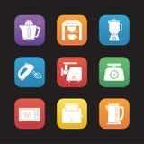 Kitchen electronics flat design icons set Stock Images
