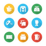 Kitchen electronics flat design icons set Royalty Free Stock Images