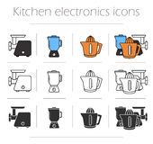 Kitchen electronics icons set. Kitchenware equipment. Meat grinder, mixer, squeezer. Modern household electric tools. Vector cooking infographic color stock illustration
