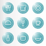 Kitchen elements. Dinner & Cooking Vector Icon Set Royalty Free Stock Photo