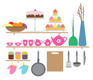 Kitchen elements, cartoon style Royalty Free Stock Images