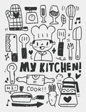 Kitchen elements doodles hand drawn line icon,eps10 Royalty Free Stock Photos