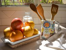 Kitchen elements for a healthy food royalty free stock photos