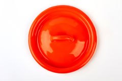 Kitchen enameled lid isolated. Royalty Free Stock Photo