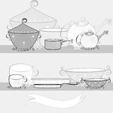 Kitchen equipment. Black and white illustration with kitchen equipment Stock Images
