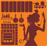 Kitchen equipment. Silhouettes of cook, kitchen furniture, ware Stock Photography