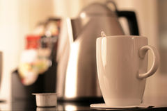 Kitchen equipment, cup of tea. Morning Stock Image
