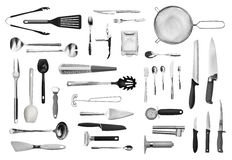 Kitchen equipment and cutlery set Stock Photography