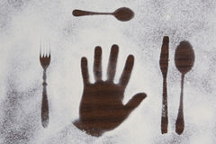 Kitchen equipment and cutlery silhouette designs Stock Photos