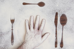 Kitchen equipment and cutlery silhouette designs Royalty Free Stock Images