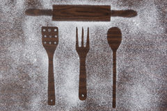 Kitchen equipment and cutlery silhouette designs Stock Photo