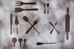 Kitchen equipment and cutlery silhouette designs Stock Images