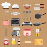 Kitchen Equipment Icons Set Stock Photo